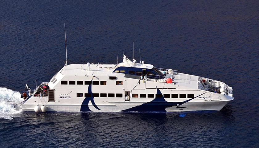 Reach Santorini by big seajet ferries