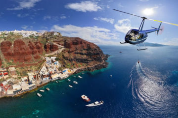 Helicopter Flight over Santorini